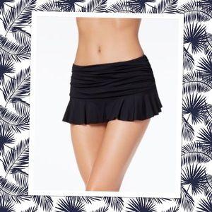 Lauren-Ralph Lauren Black Ruffle-Hem Swim Skirt
